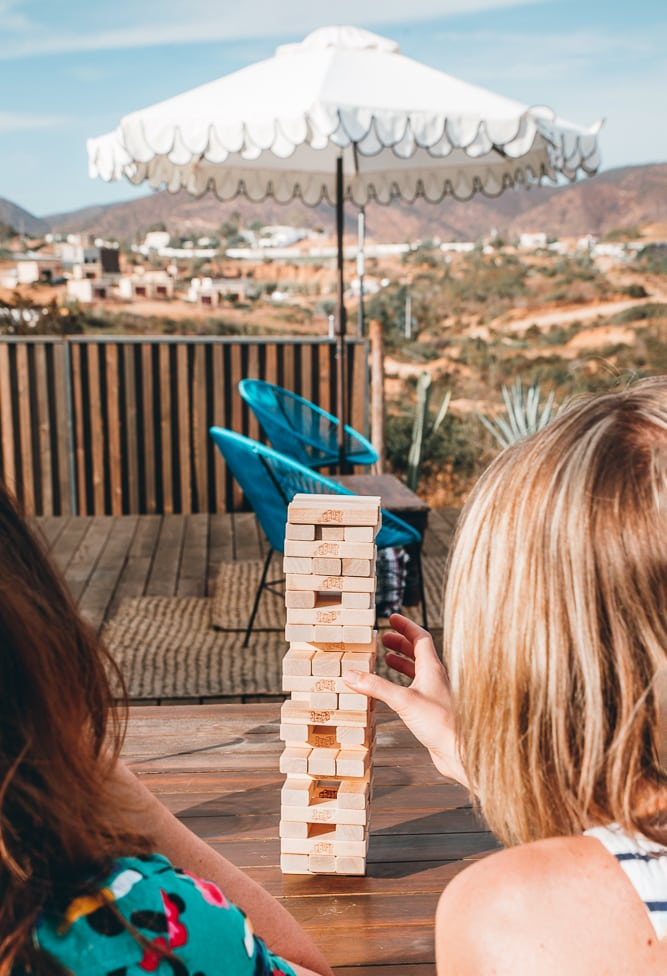 Lifestyle Photographer - Jenga at an Airbnb in Baja California, Mexico
